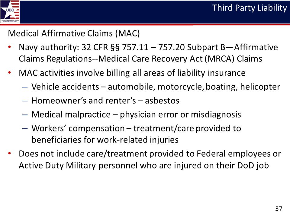Third Party Liability Medical Affirmative Claims (MAC)