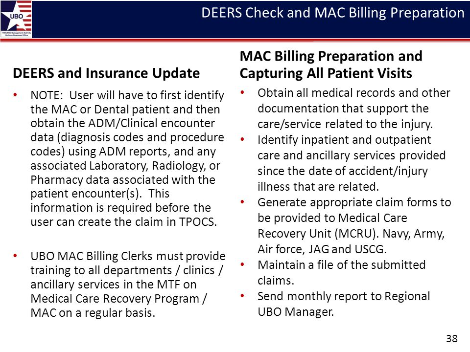 DEERS Check and MAC Billing Preparation