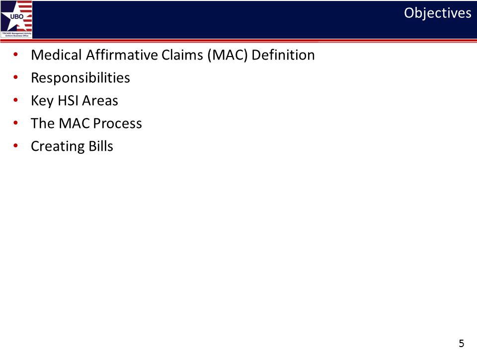 Objectives Medical Affirmative Claims (MAC) Definition. Responsibilities. Key HSI Areas. The MAC Process.
