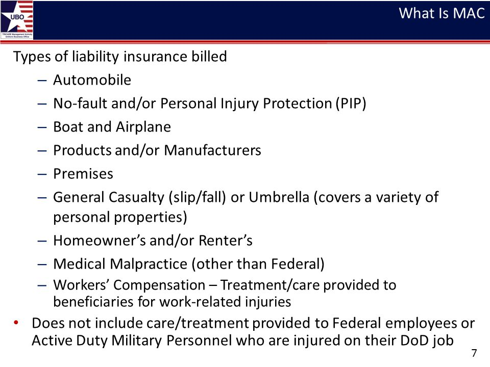 Types of liability insurance billed Automobile