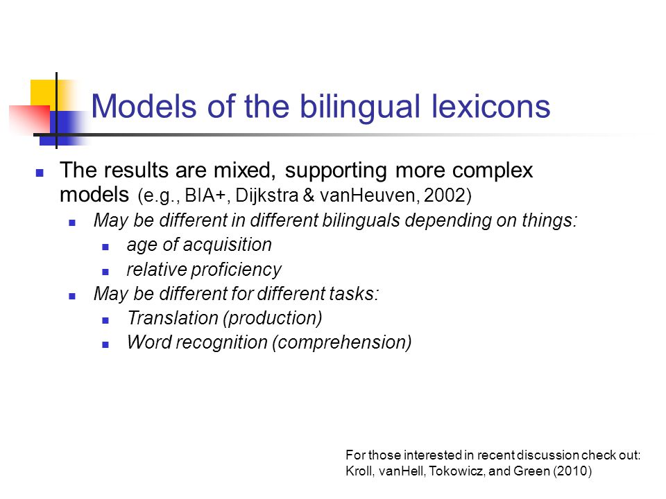 Models of the bilingual lexicons