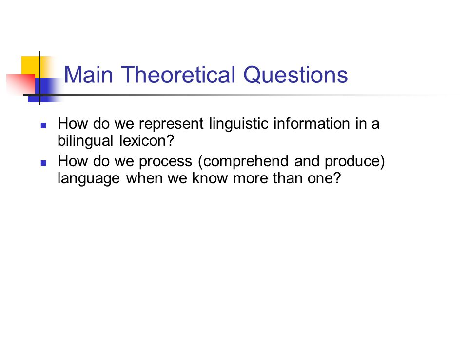Main Theoretical Questions