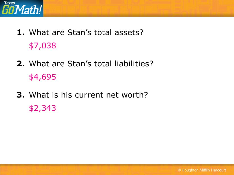 1. What are Stan's total assets $7,038. 2. What are Stan's total liabilities $4,695. 3. What is his current net worth