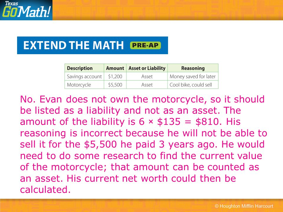No. Evan does not own the motorcycle, so it should be listed as a liability and not as an asset.