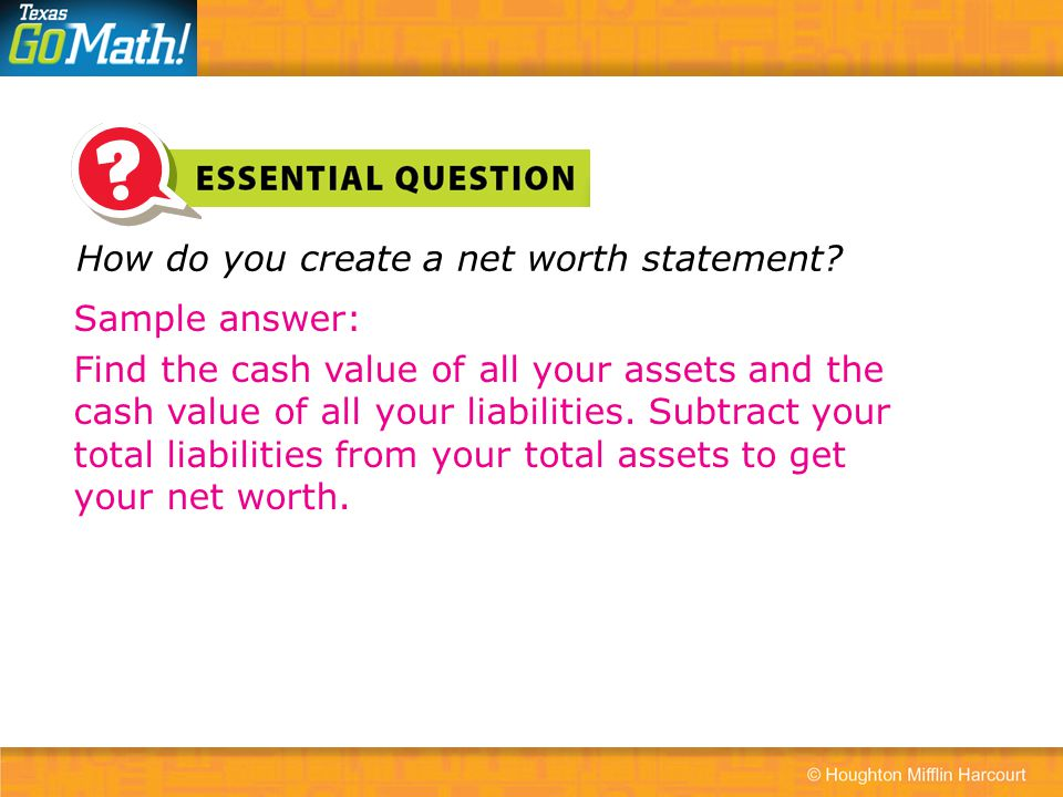How do you create a net worth statement