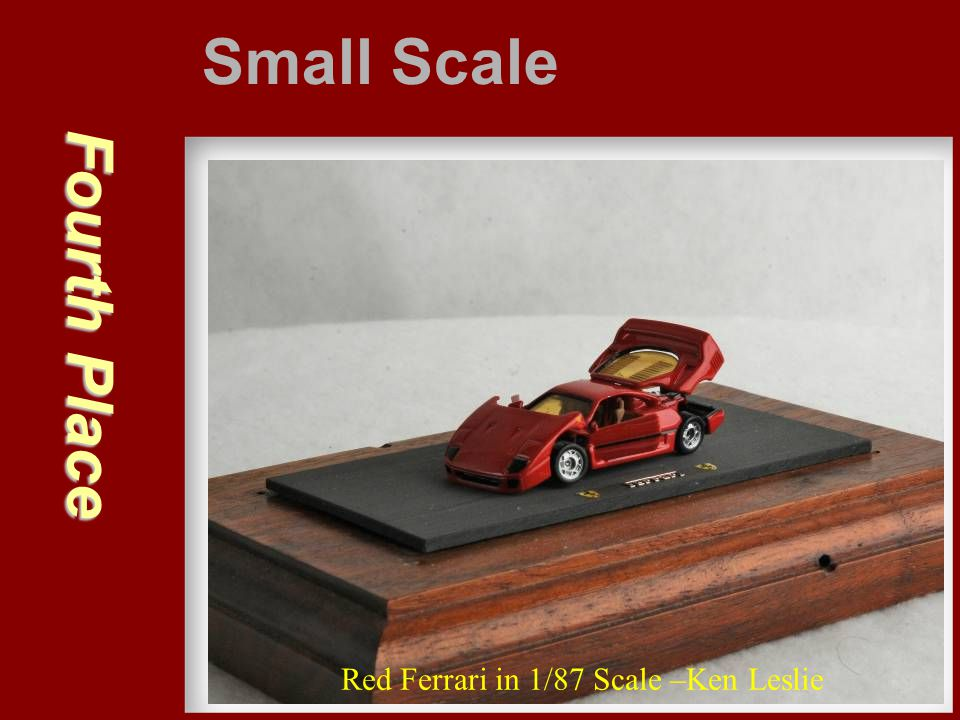 Small Scale Fourth Place Red Ferrari in 1/87 Scale –Ken Leslie