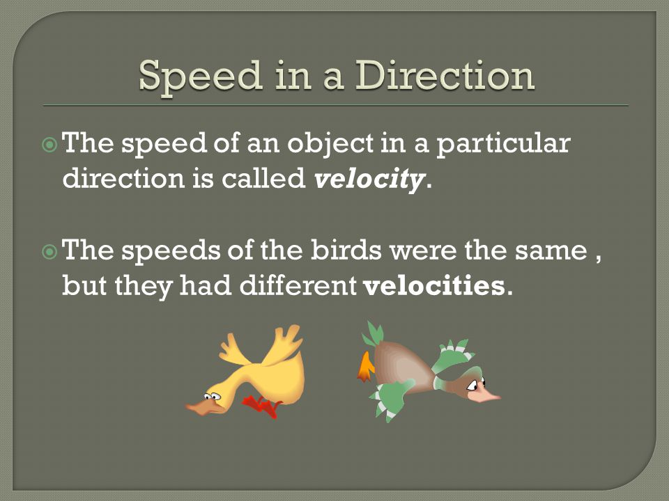 Speed in a Direction The speed of an object in a particular direction is called velocity.