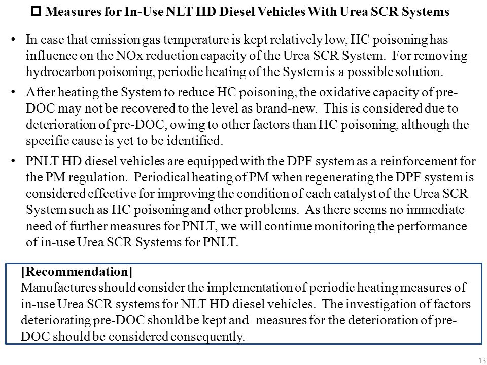 Measures for In-Use NLT HD Diesel Vehicles With Urea SCR Systems