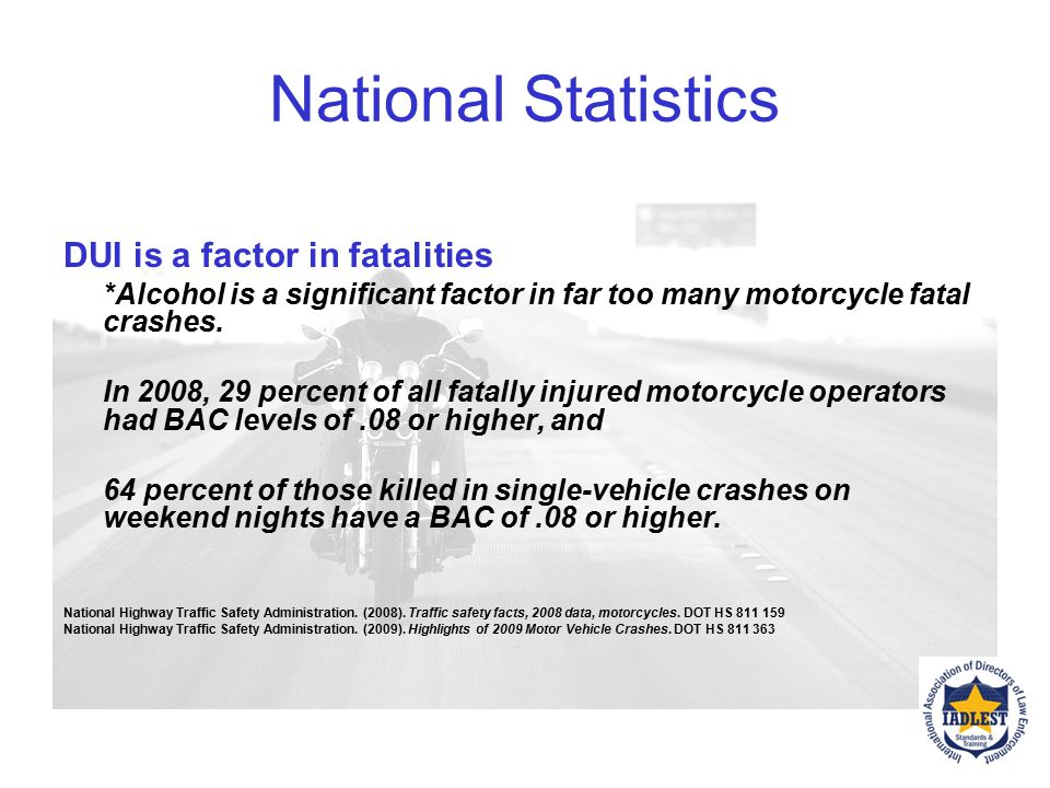 National Statistics DUI is a factor in fatalities
