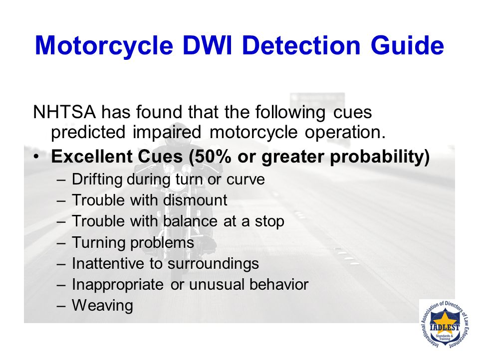 Motorcycle DWI Detection Guide