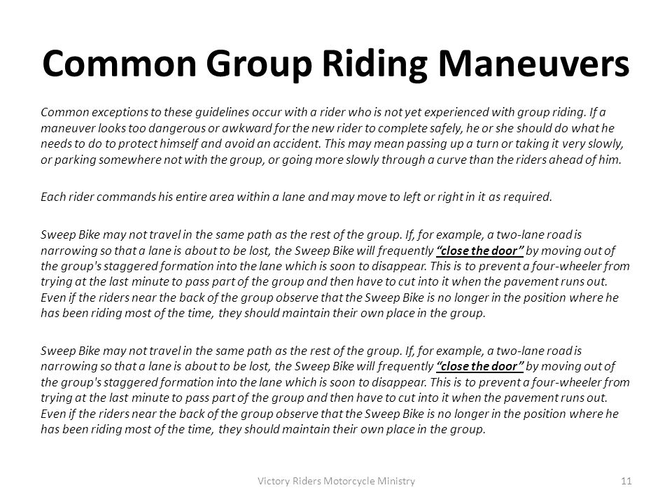 Common Group Riding Maneuvers