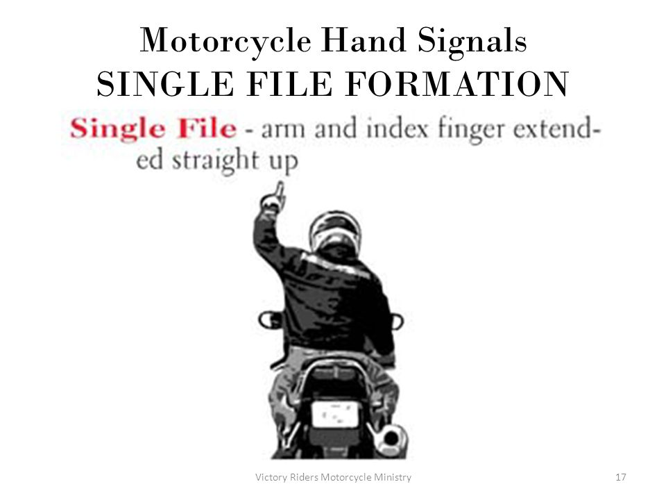 Motorcycle Hand Signals SINGLE FILE FORMATION
