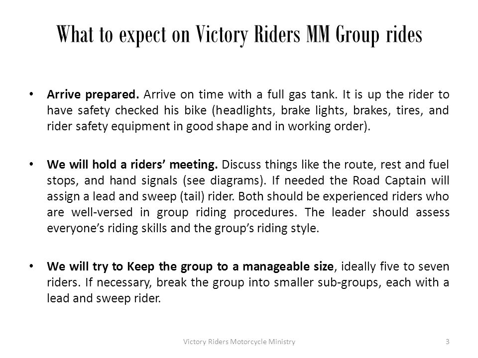 What to expect on Victory Riders MM Group rides