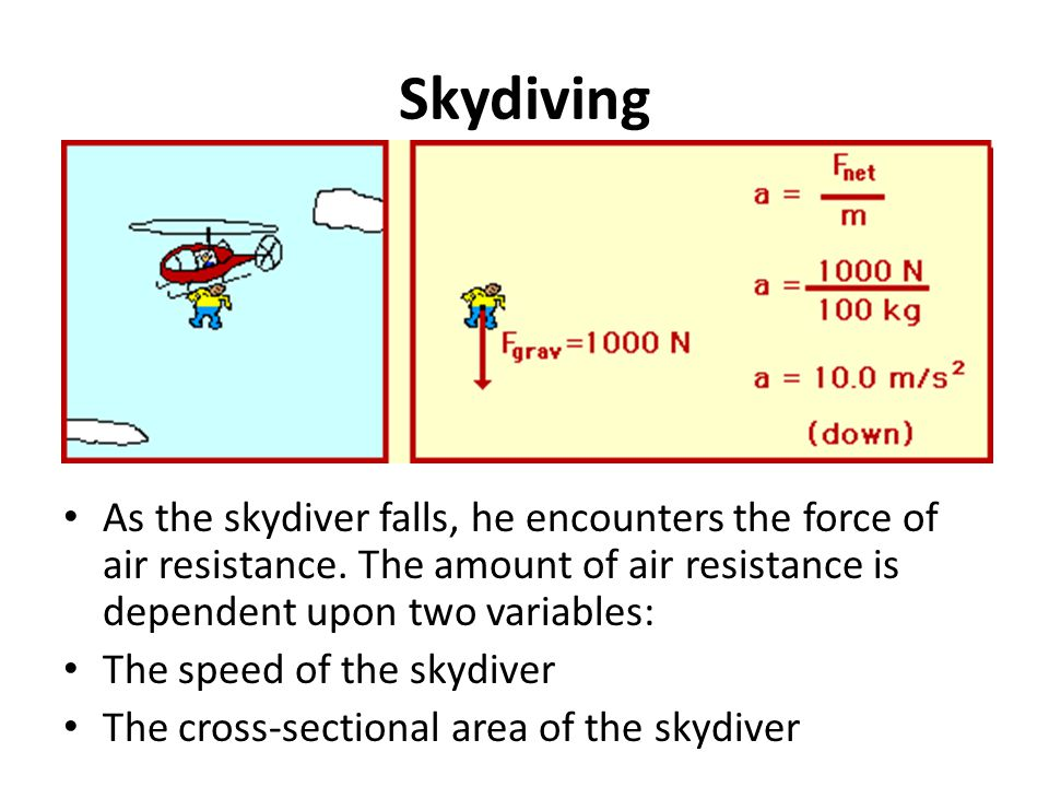 Skydiving As the skydiver falls, he encounters the force of air resistance. The amount of air resistance is dependent upon two variables: