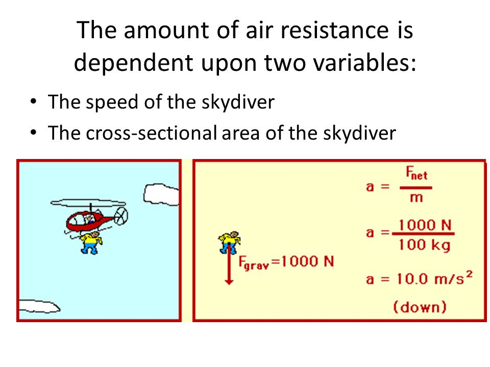 The amount of air resistance is dependent upon two variables: