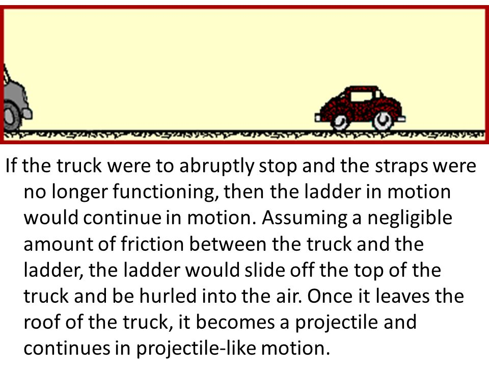 If the truck were to abruptly stop and the straps were no longer functioning, then the ladder in motion would continue in motion. Assuming a negligible amount of friction between the truck and the ladder, the ladder would slide off the top of the truck and be hurled into the air. Once it leaves the roof of the truck, it becomes a projectile and continues in projectile-like motion.