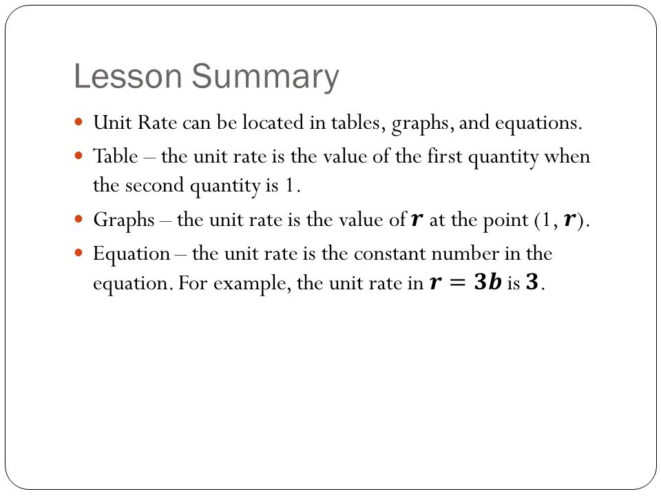 Lesson Summary Unit Rate can be located in tables, graphs, and equations.