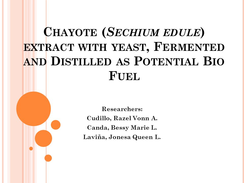 Chayote (Sechium edule) extract with yeast, Fermented and Distilled as Potential Bio Fuel