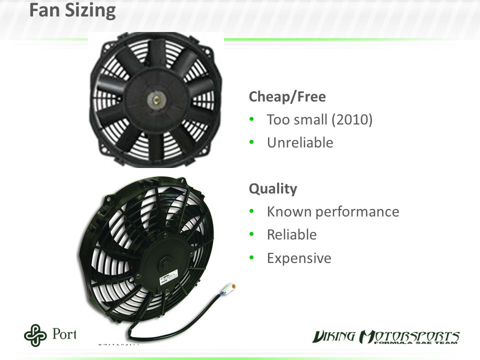 Fan Sizing Cheap/Free Too small (2010) Unreliable Quality