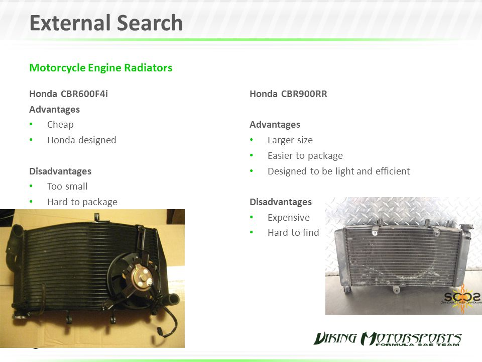 External Search Motorcycle Engine Radiators Honda CBR600F4i Advantages
