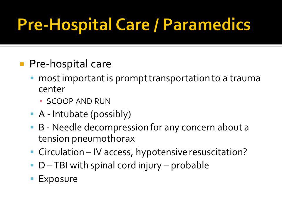 Pre-Hospital Care / Paramedics