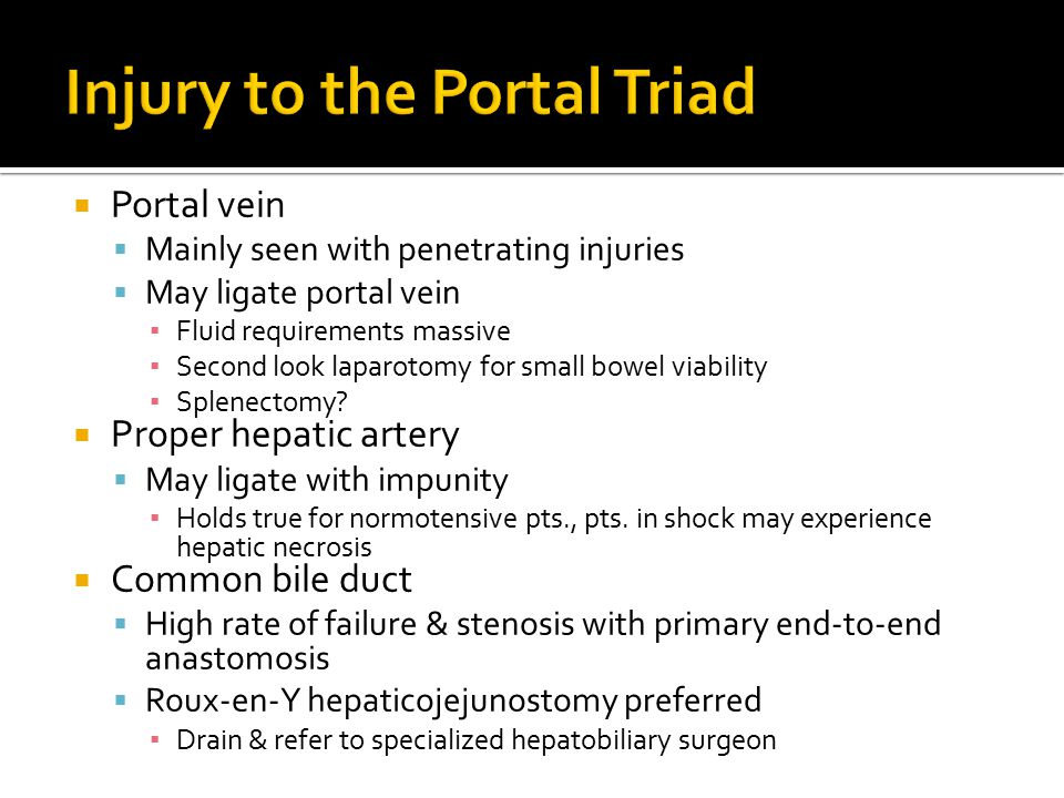 Injury to the Portal Triad
