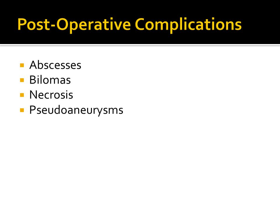 Post-Operative Complications
