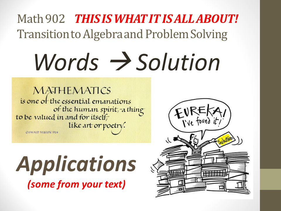 Words  Solution Applications