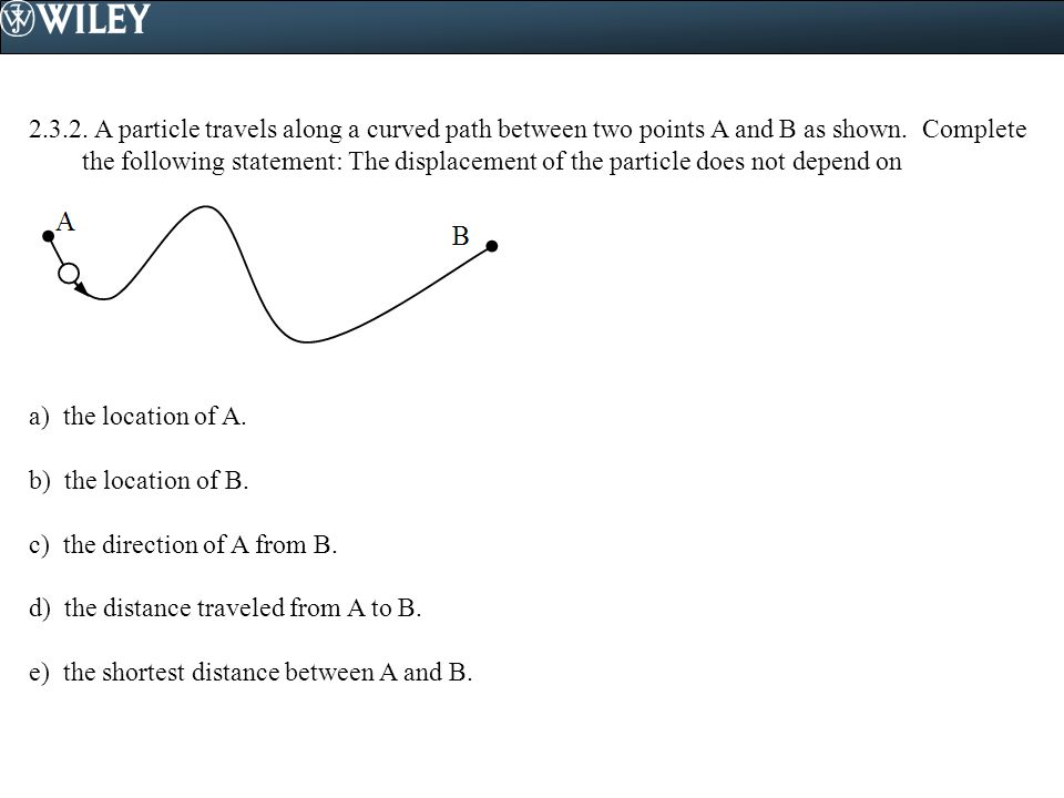 2.3.2. A particle travels along a curved path between two points A and B as shown. Complete the following statement: The displacement of the particle does not depend on