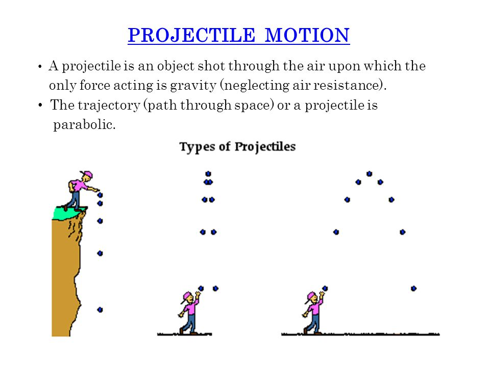 PROJECTILE MOTION A projectile is an object shot through the air upon which the only force acting is gravity (neglecting air resistance).