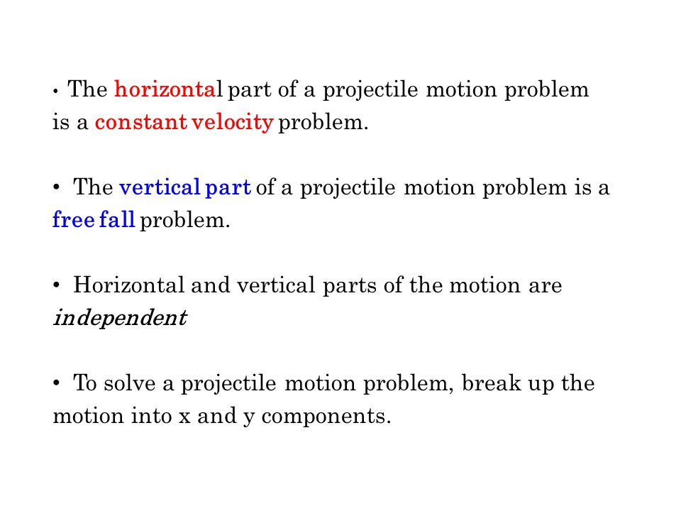 Horizontal and vertical parts of the motion are independent