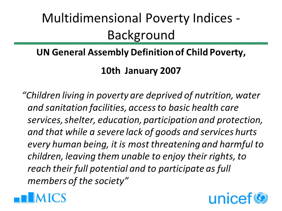 Multidimensional Poverty Indices - Background