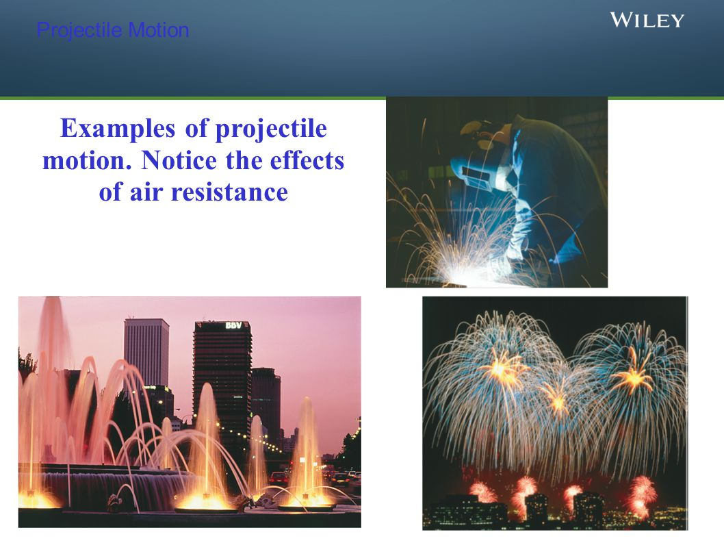 Examples of projectile motion. Notice the effects of air resistance
