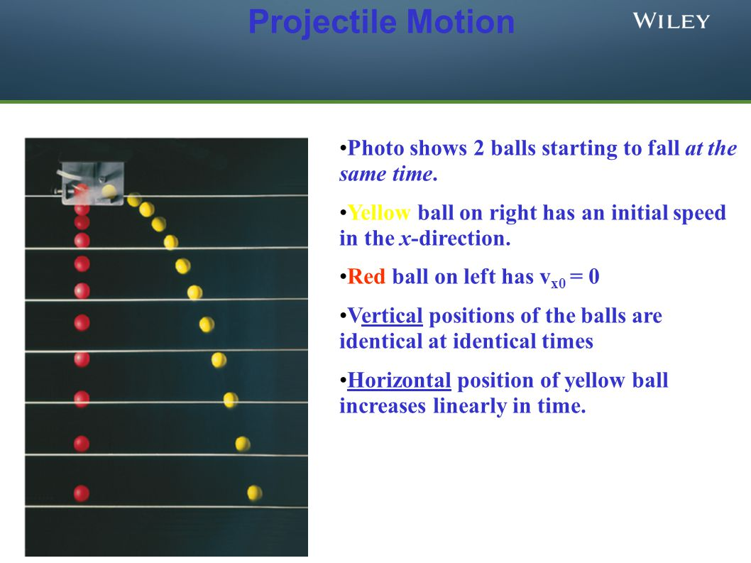 Projectile Motion Photo shows 2 balls starting to fall at the same time. Yellow ball on right has an initial speed in the x-direction.