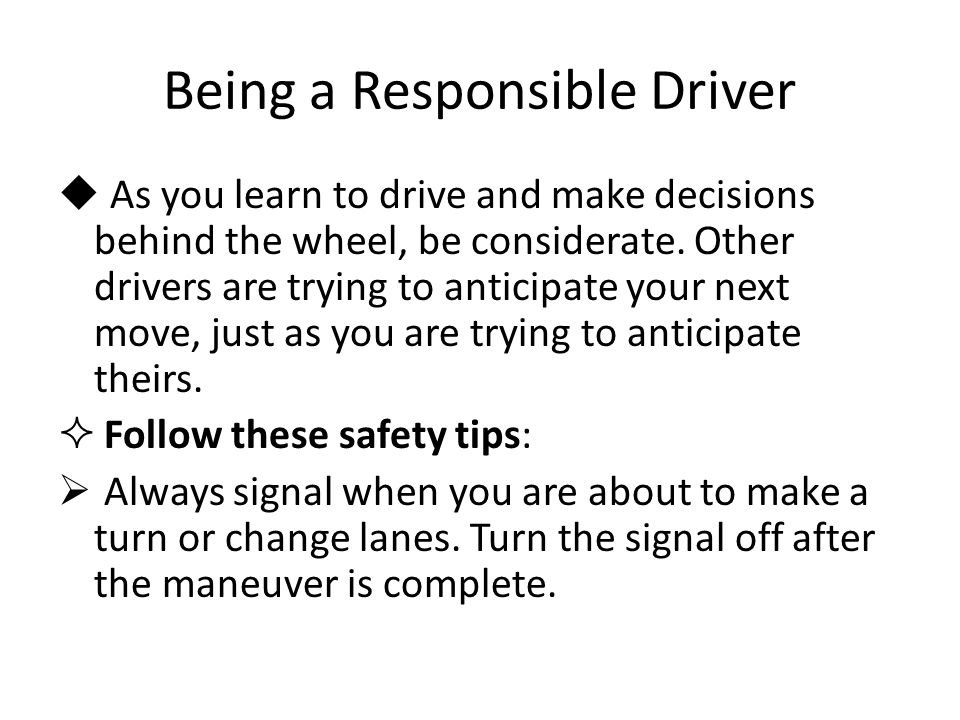 Being a Responsible Driver