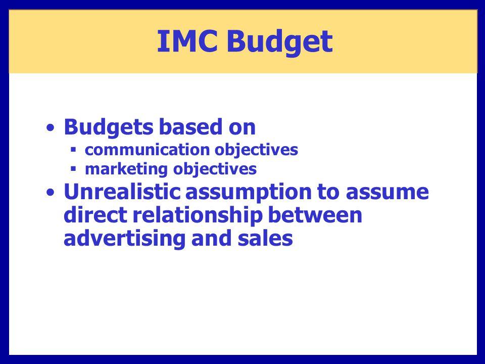 IMC Budget Budgets based on
