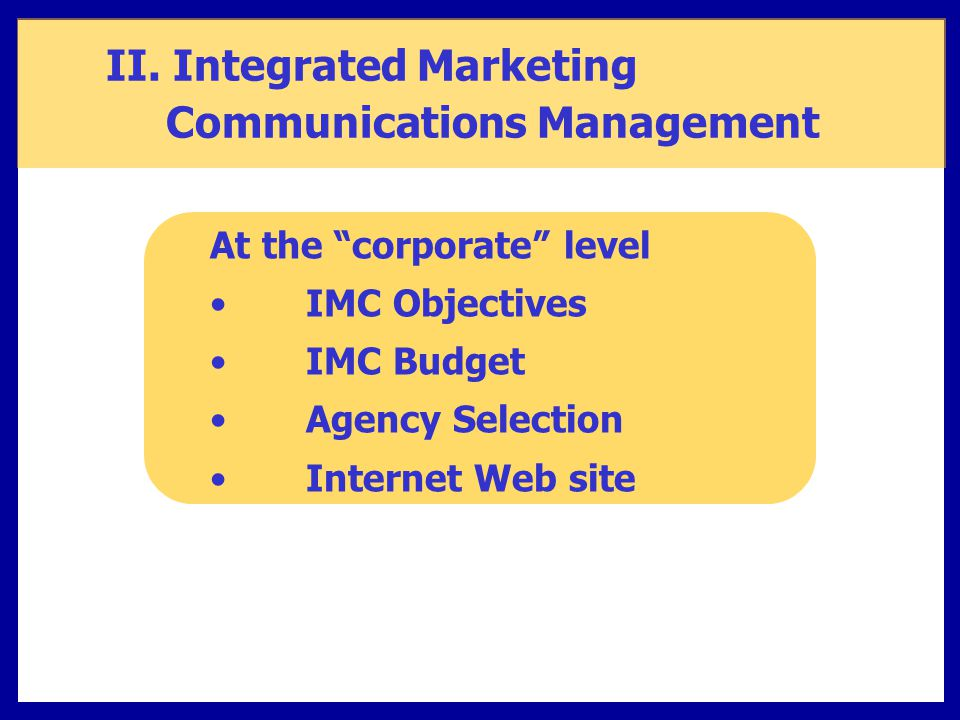 II. Integrated Marketing Communications Management