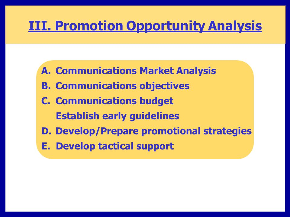 III. Promotion Opportunity Analysis