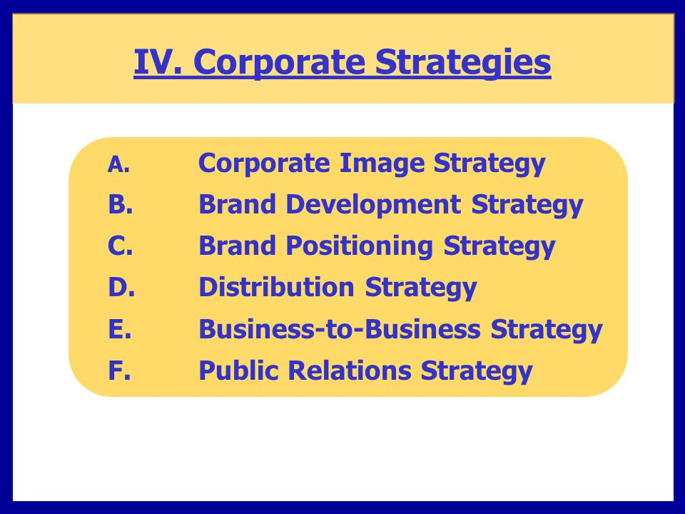 IV. Corporate Strategies