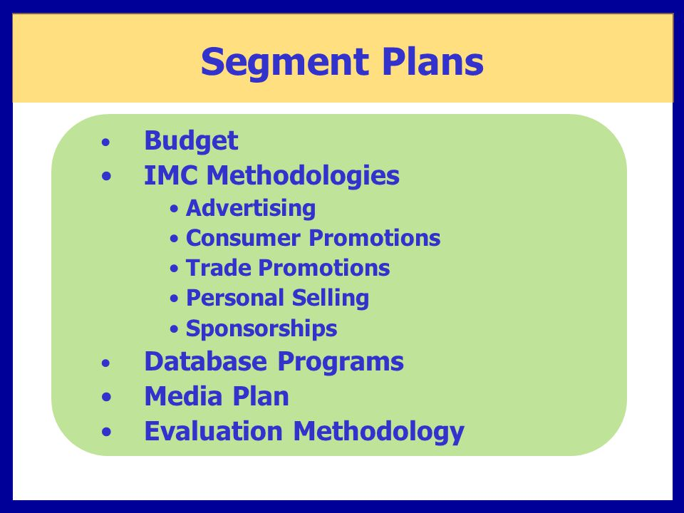 Segment Plans IMC Methodologies Media Plan Evaluation Methodology