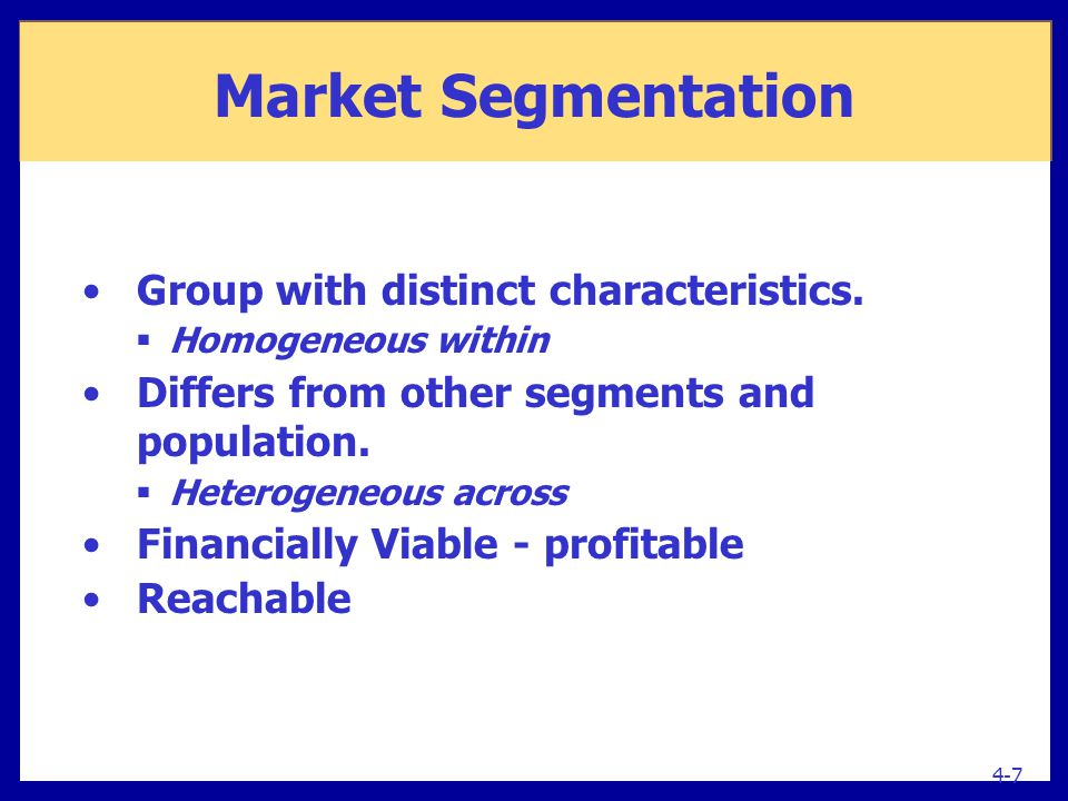 Market Segmentation Group with distinct characteristics.