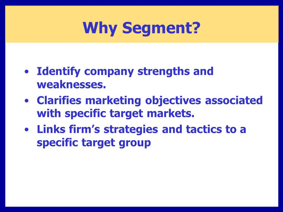 Why Segment Identify company strengths and weaknesses.