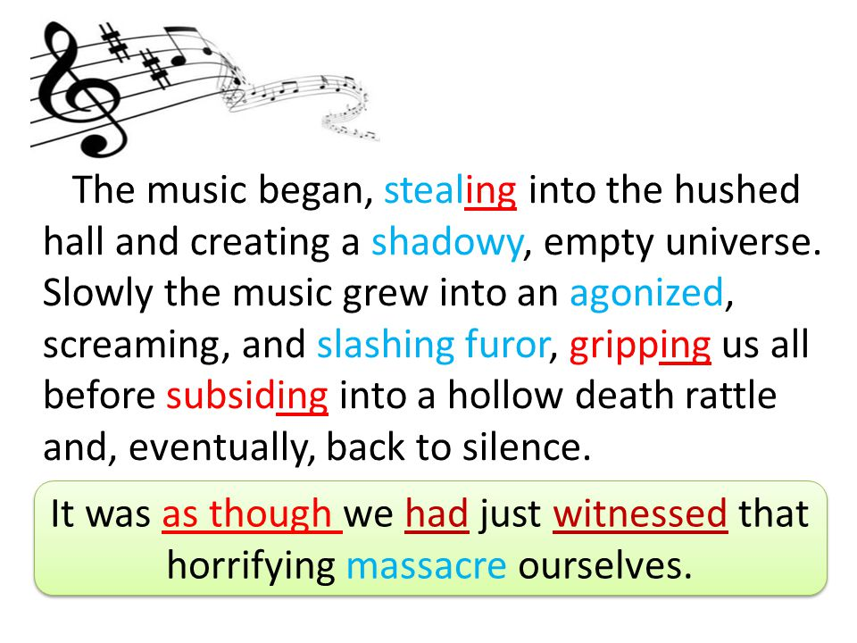 The music began, stealing into the hushed hall and creating a shadowy, empty universe. Slowly the music grew into an agonized, screaming, and slashing furor, gripping us all before subsiding into a hollow death rattle and, eventually, back to silence.