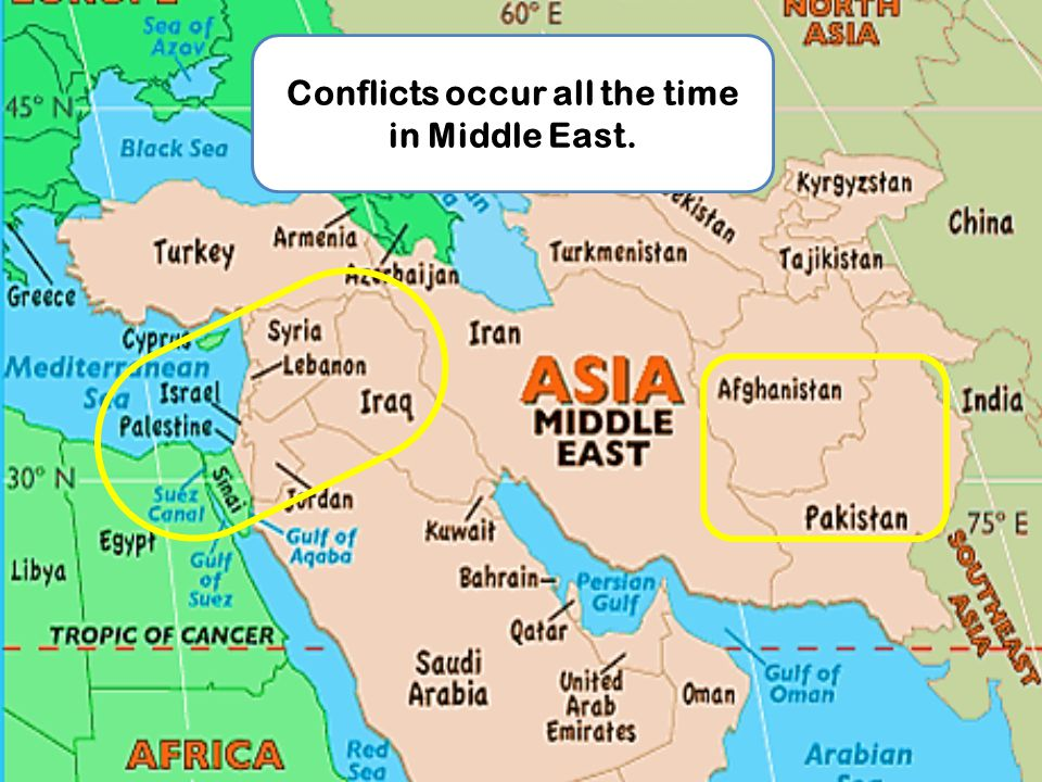 Conflicts occur all the time in Middle East.