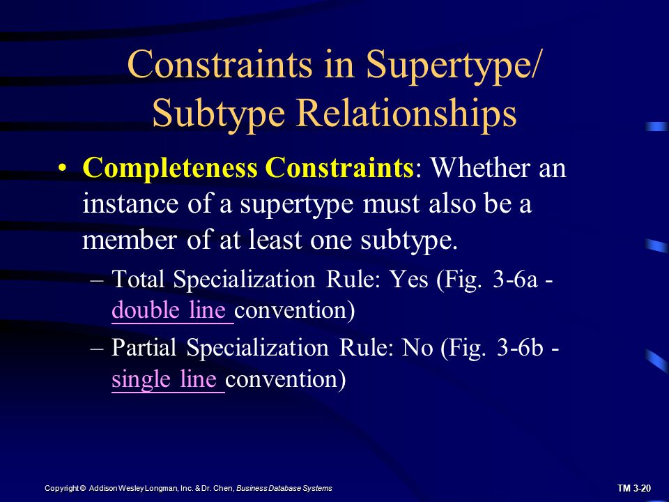 Constraints in Supertype/ Subtype Relationships