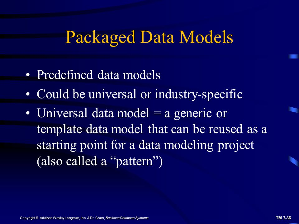 Packaged Data Models Predefined data models