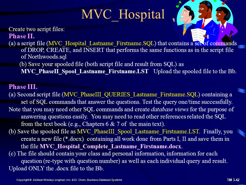 MVC_Hospital Phase II. Phase III. Create two script files: