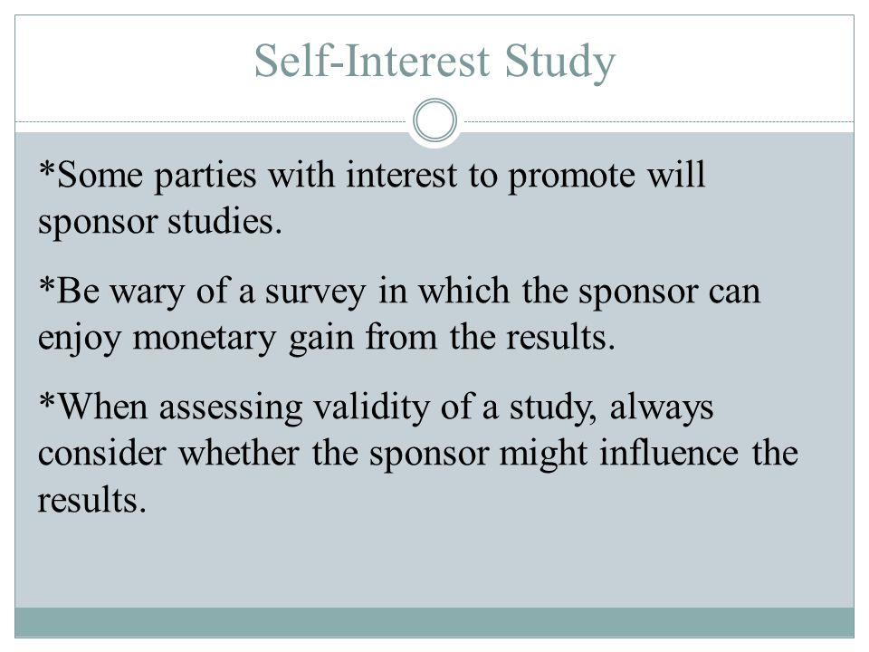 Self-Interest Study