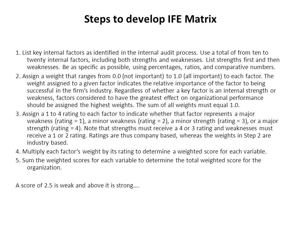 Steps to develop IFE Matrix