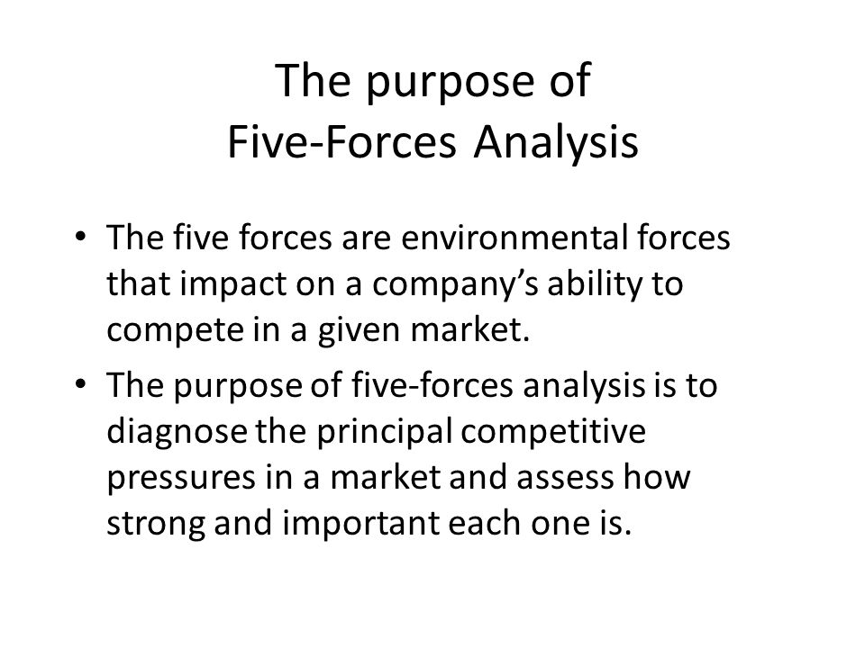 The purpose of Five-Forces Analysis